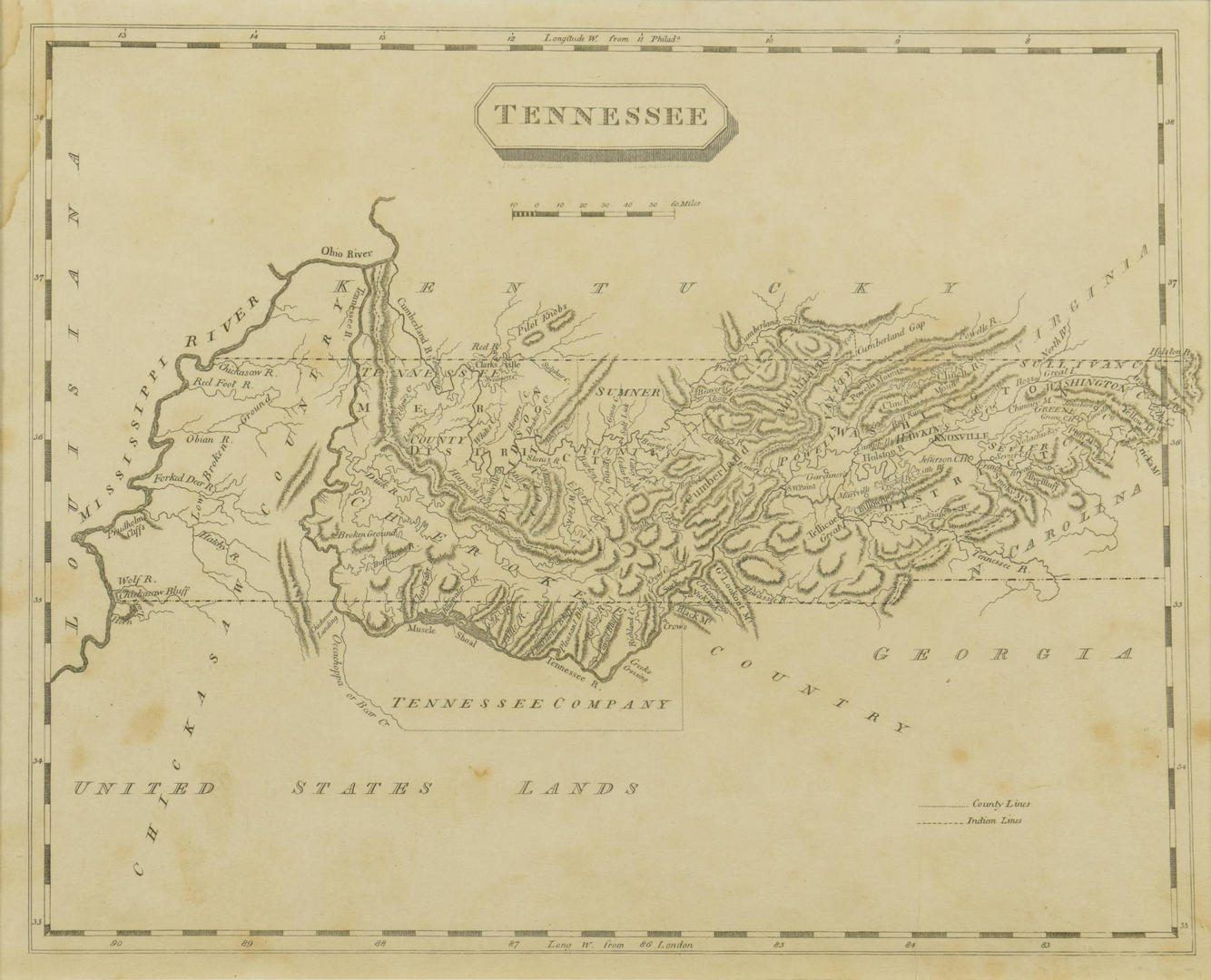 Lot 83: Tennessee Map, Samuel Lewis & Alexander Lawson