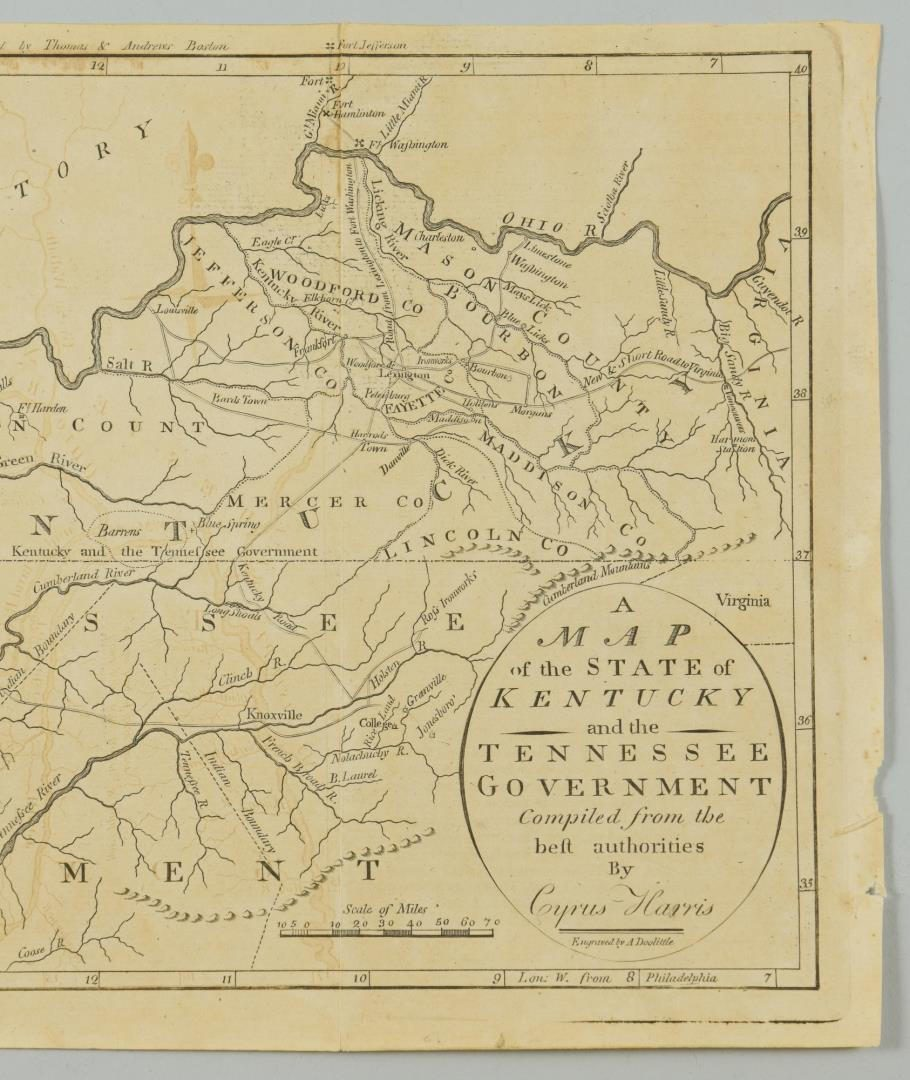Lot 84: Kentucky and Tennessee Map, 1796 Harris