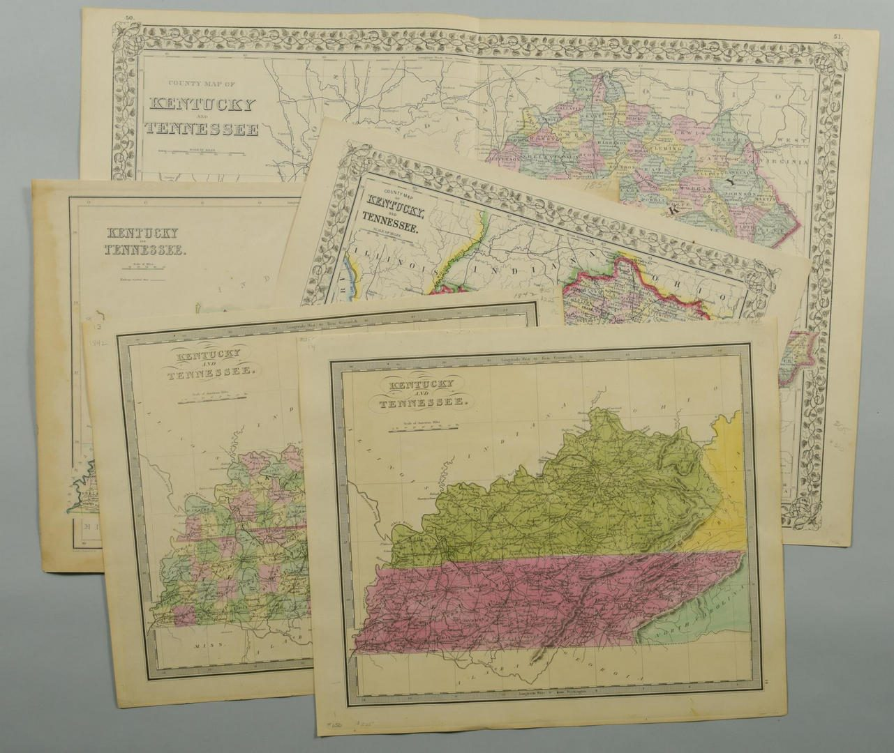 Lot 85: 5 19th cent. KY & TN Maps
