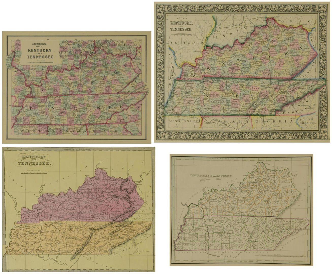 Lot 86: 4 TN & KY Maps, 2 Framed