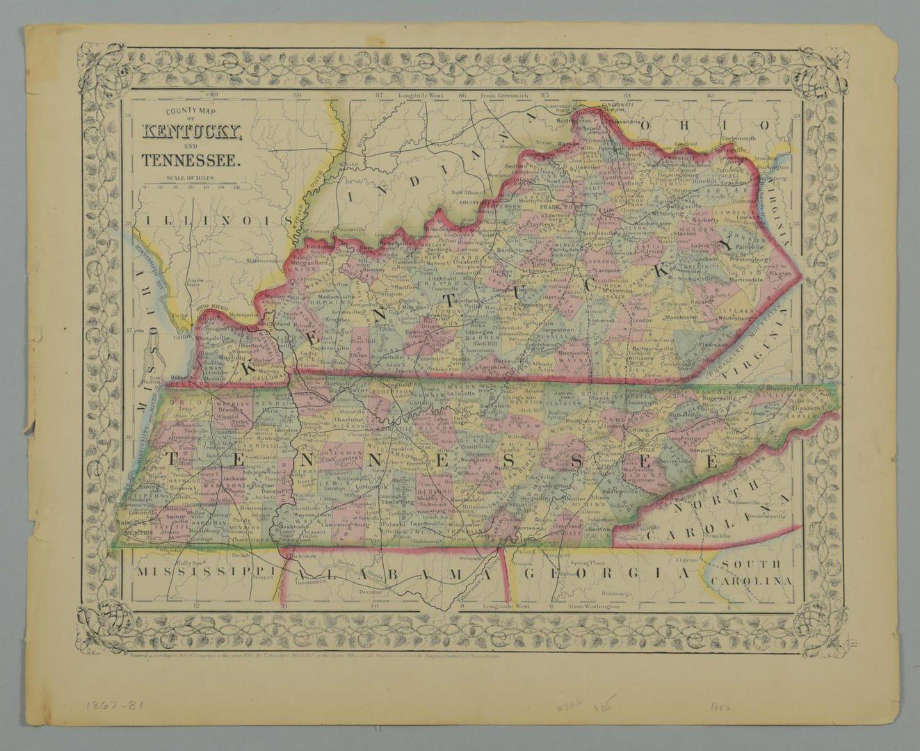 Lot 89: 4 Southern States Maps, TN, KY, VA & NC