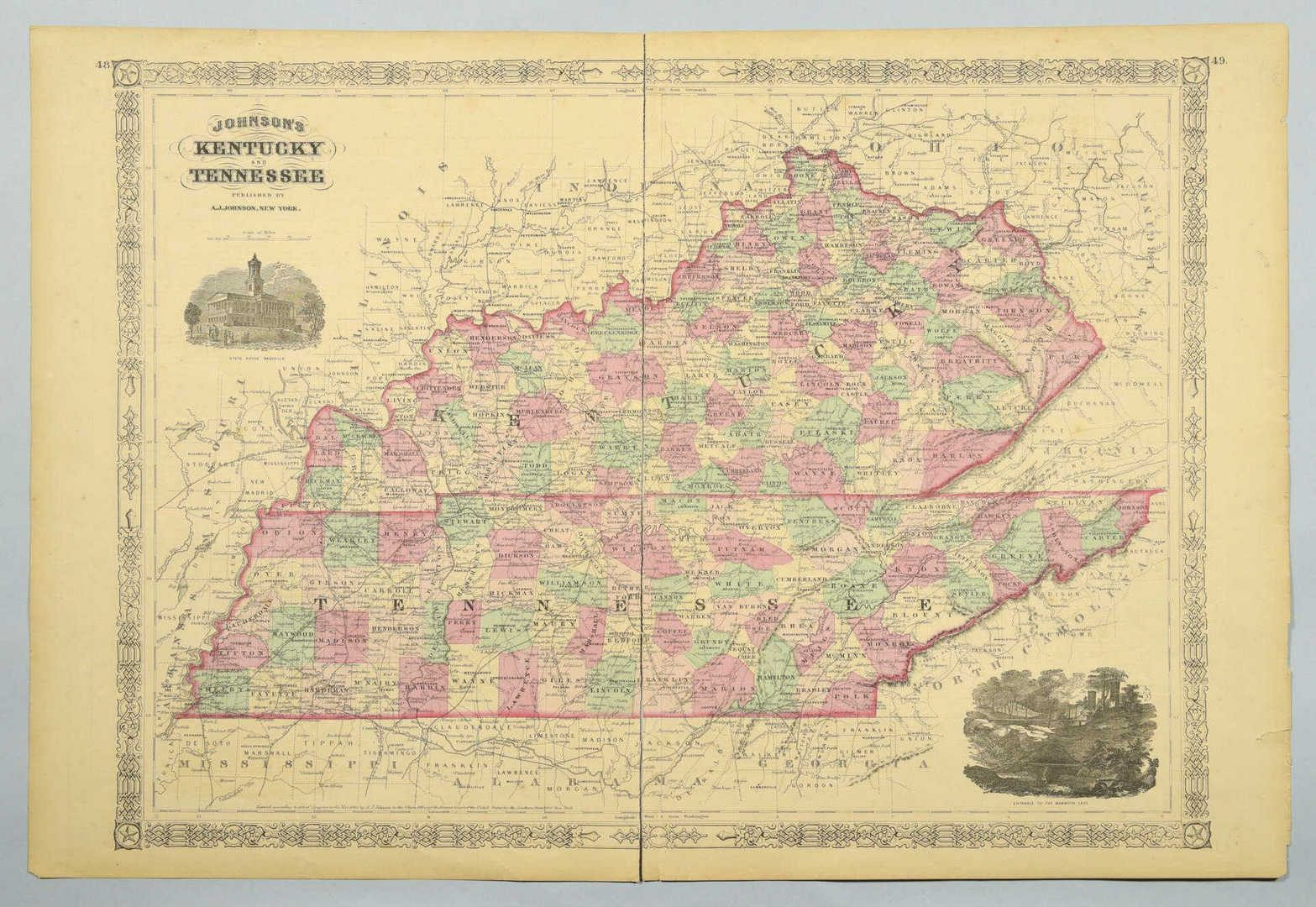Lot 90: 4 19th cent. TN & KY Maps