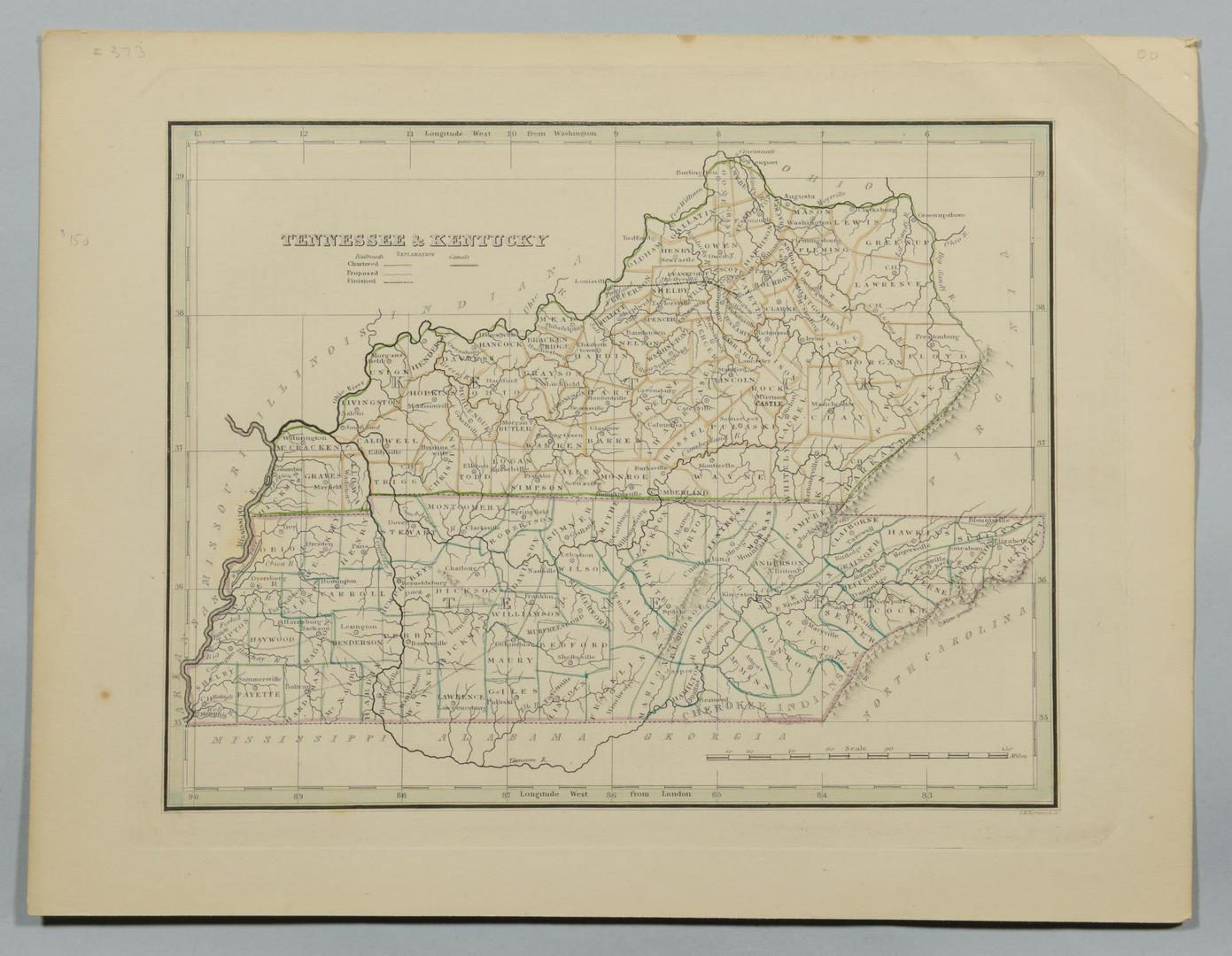Lot 91: 4 19th Cent. TN & KY Maps