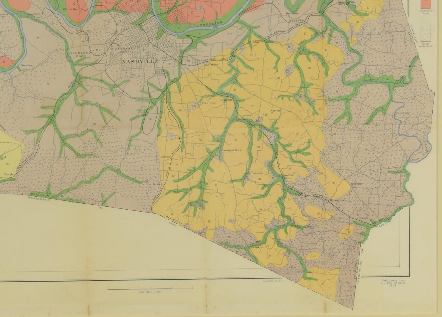Lot 93: 1903 Geological Map, Davidson County