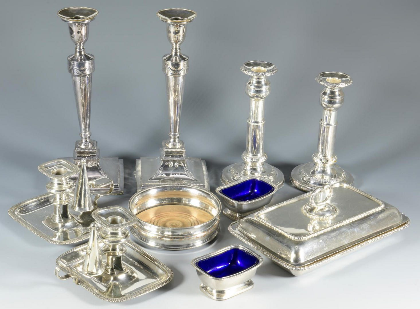 Lot 9: Large lot early English Plated Hollowware