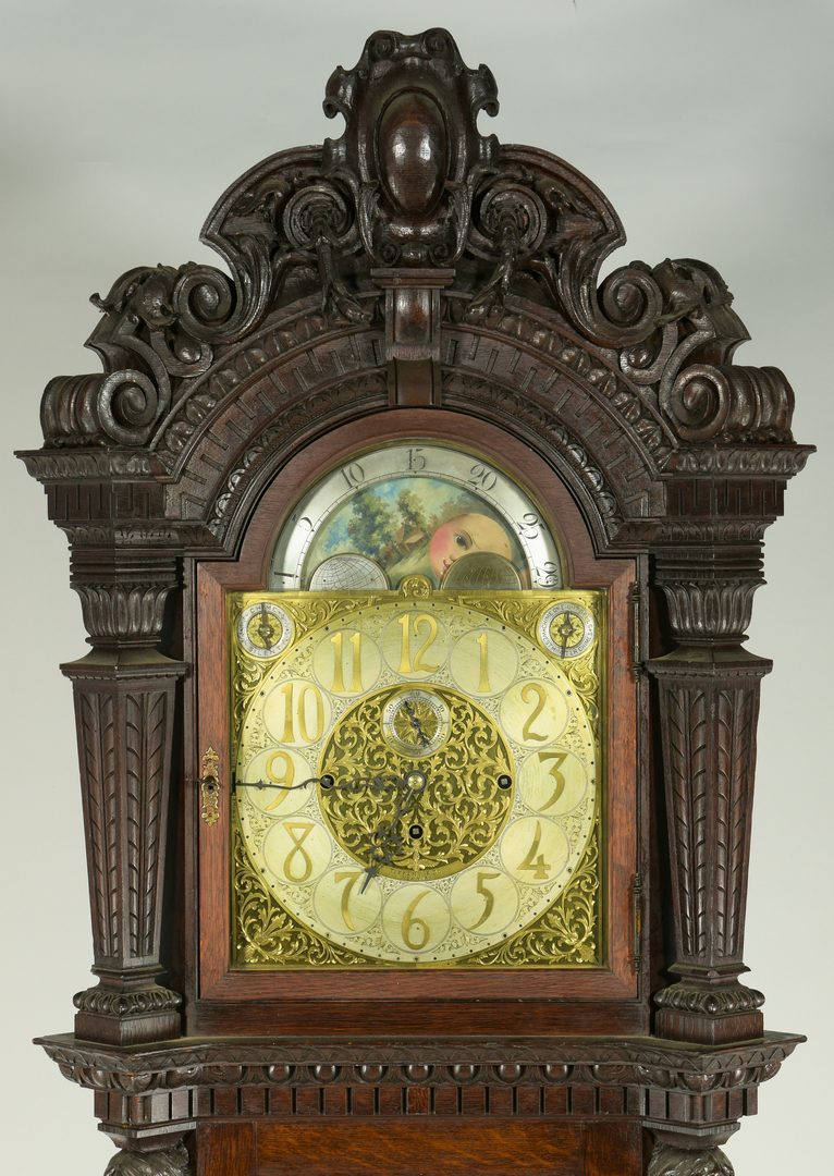 Lot 102: Tiffany Tall Case Clock w/ Carved Oak Case