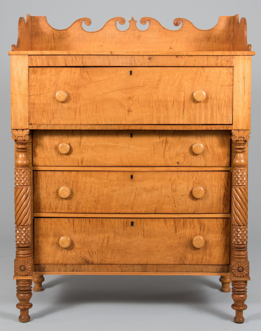 Lot 115: TN Burgner School Tiger Maple Chest