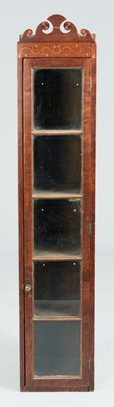 Lot 120: East TN Narrow Shelf Cupboard, Inlaid