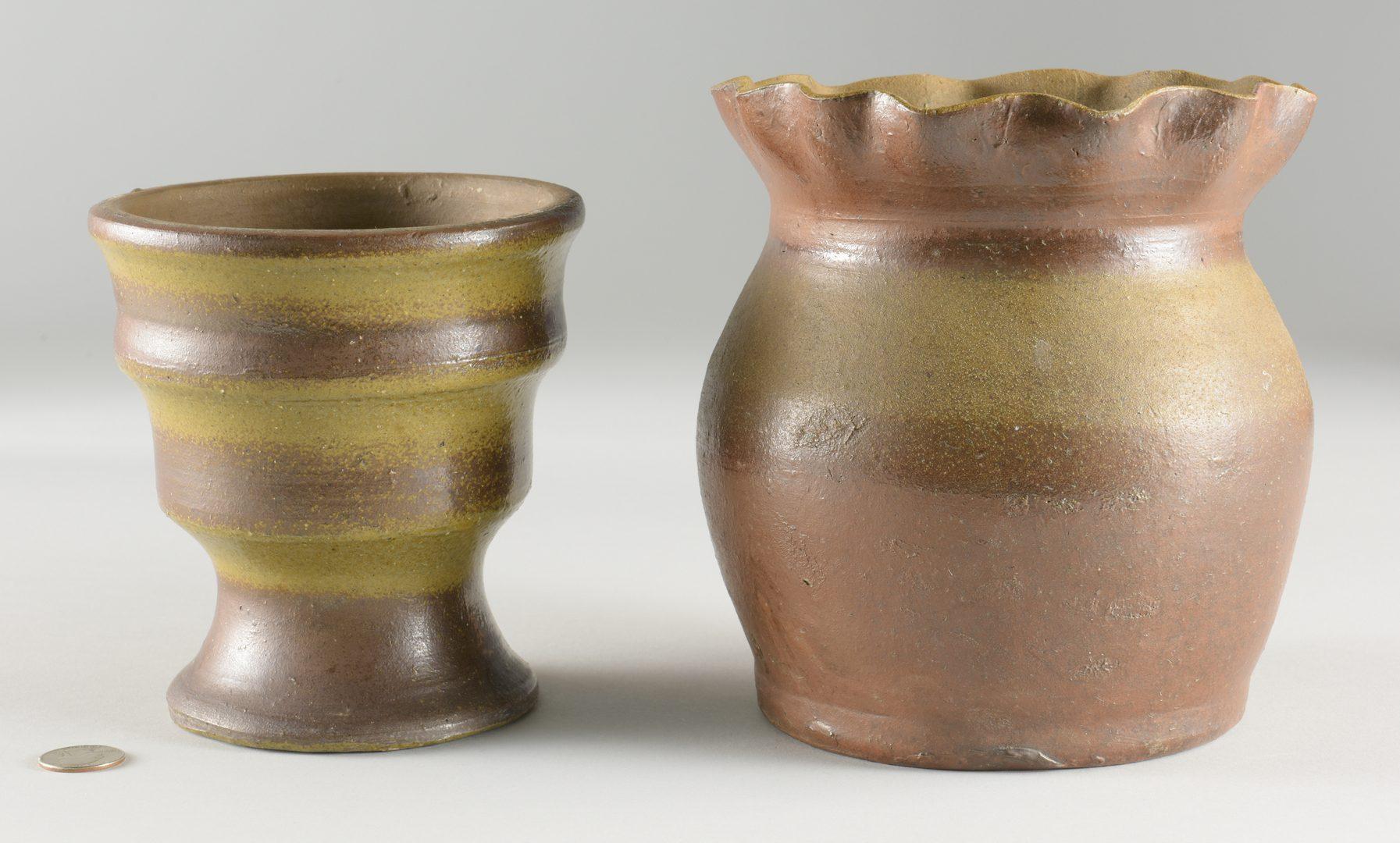 Lot 127: 2 Middle TN Stoneware Flower Pots