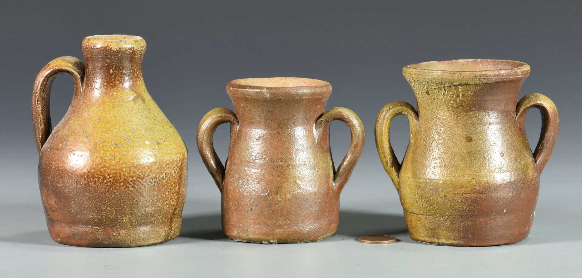Lot 128: 3 Middle TN Stoneware Pottery Miniatures