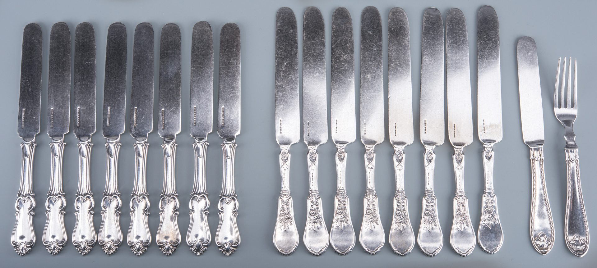 Lot 133: Group Coin Silver Knives, 17 plus 1 fork