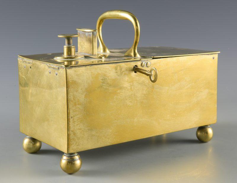 "Lot 138: English ""Rich's Patent"" Brass Tobacco/Honor Box"
