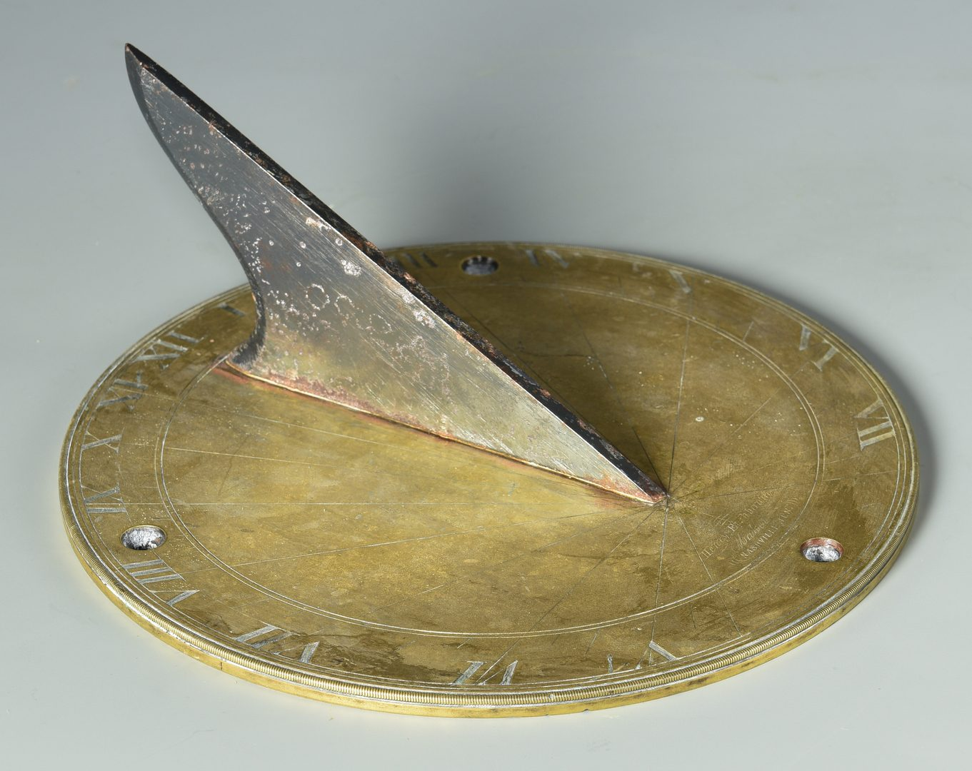 Lot 139: Signed 19th c. Tennessee Brass Sundial