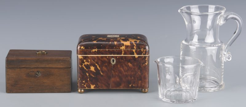 Lot 147: Four 19th cent. European Accessories inc. tea caddies