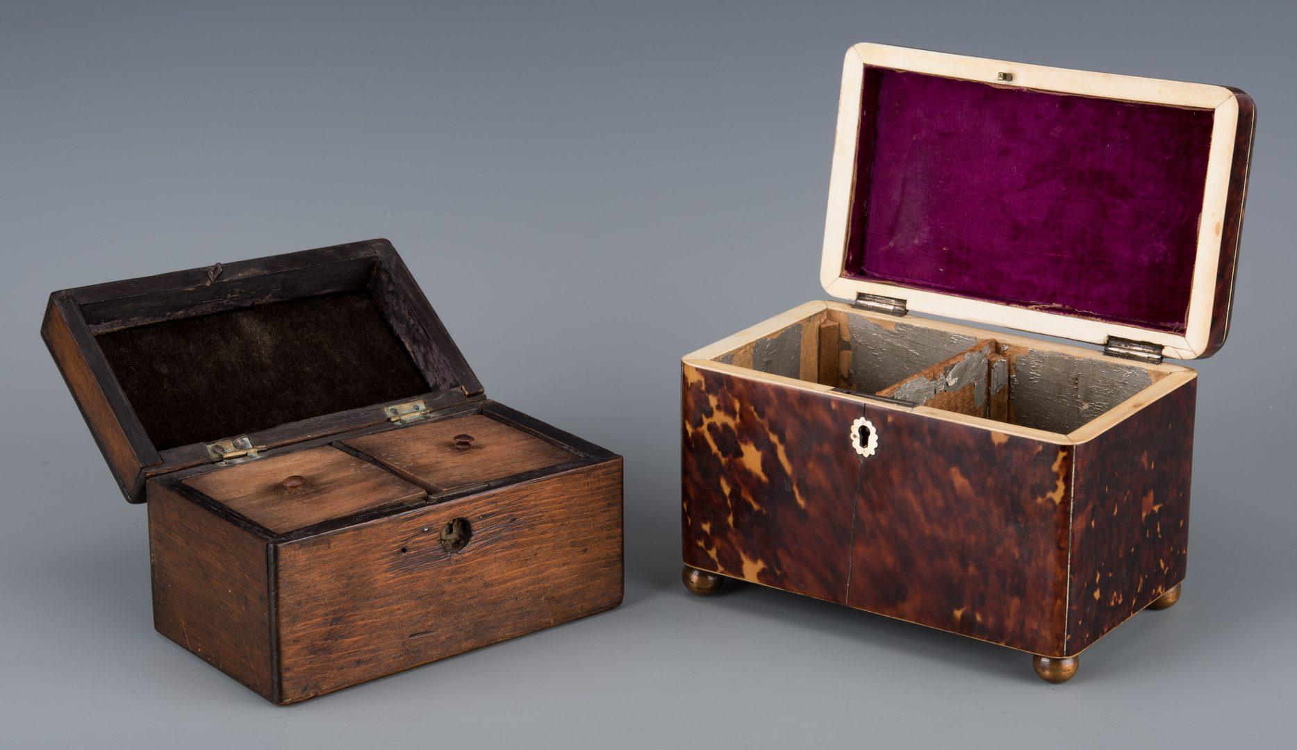 Lot 147: Four 19th cent. European Accessories inc. tea caddies