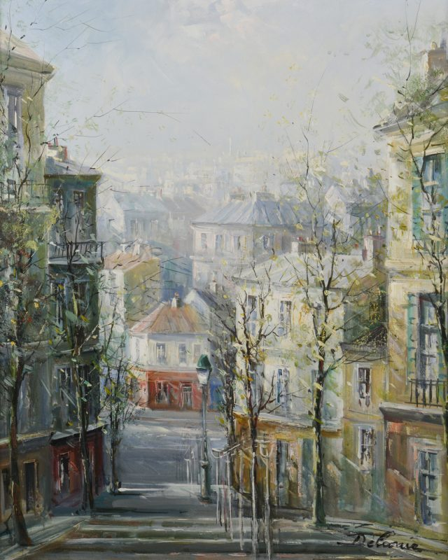 Lot 148: Lucien Delarue, Oil on Linen, Paris Street Scene