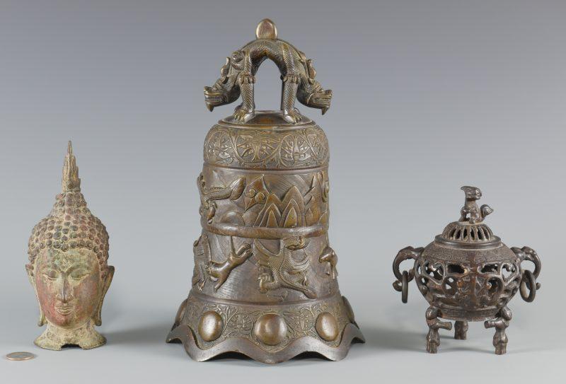 Lot 15: Asian bronze bell, censer, head