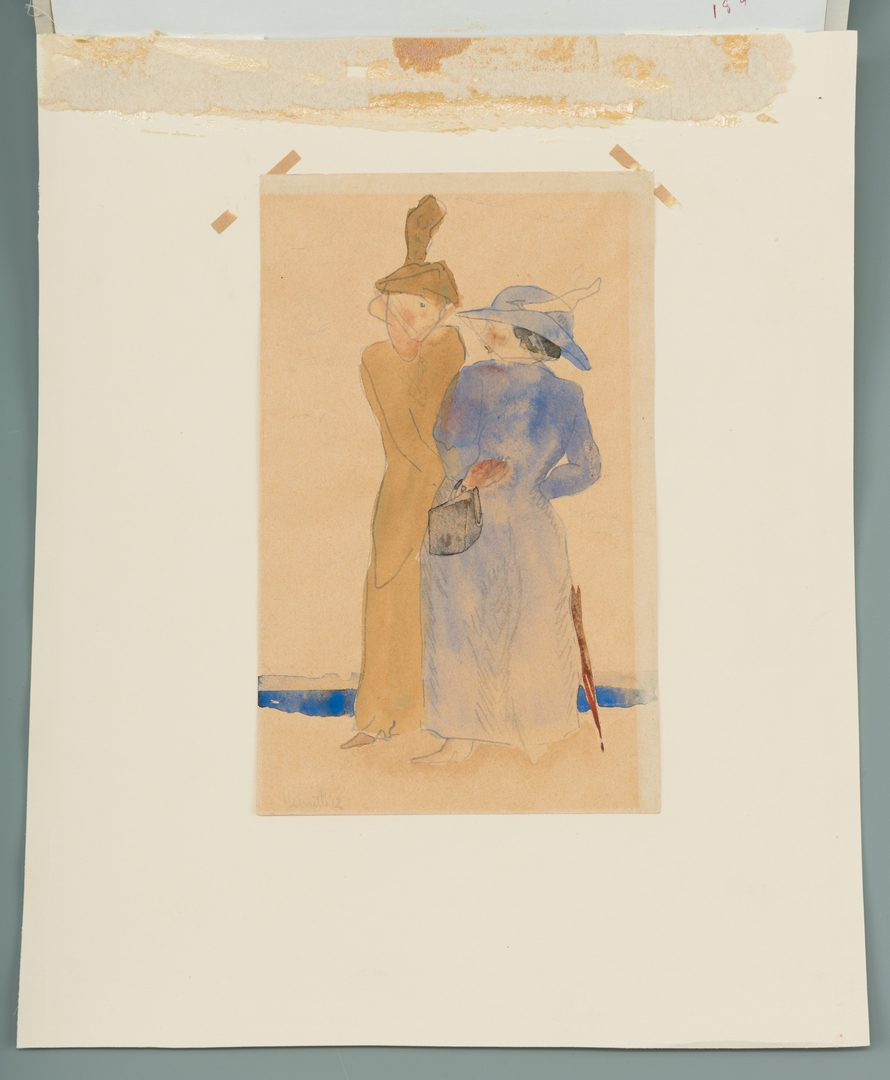 Lot 160: Charles Demuth watercolor, Two Women at Seashore