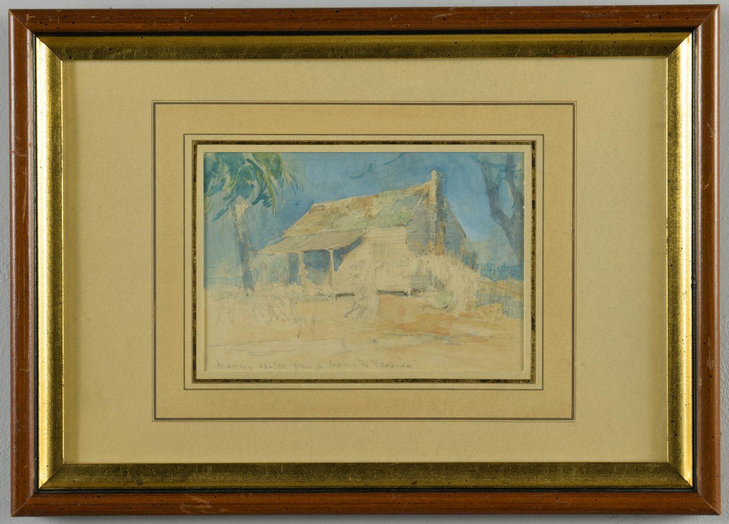 Lot 161: Everett Shinn Watercolor, Southern Landscape