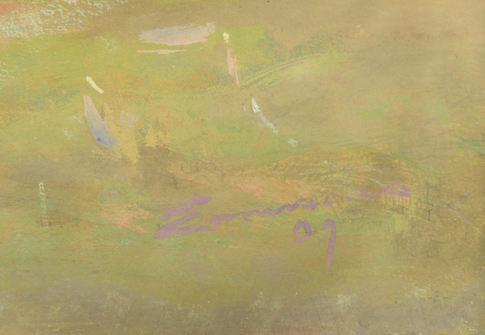 Lot 163: William C. Emerson landscape, tempera on board