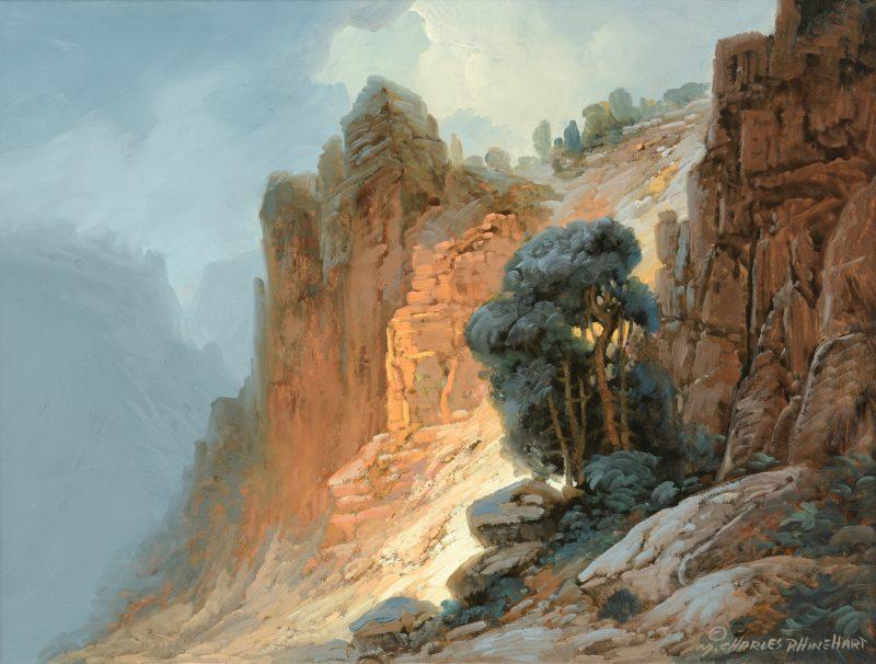 Lot 167: Charles Rhinehart Oil on Board Landscape
