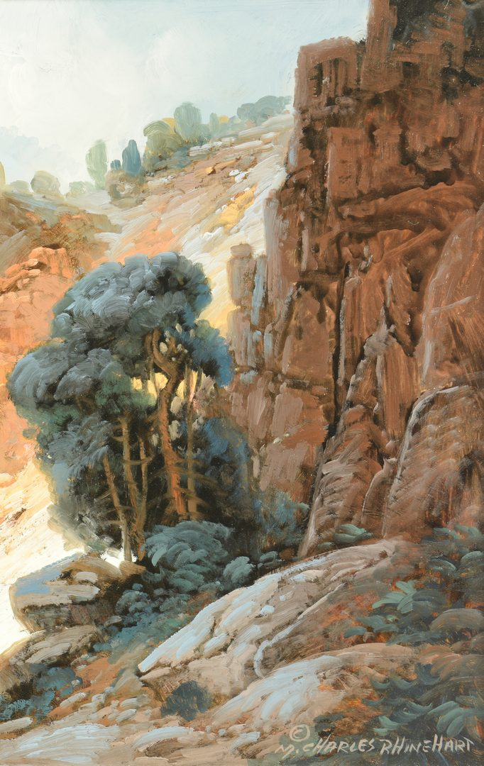 Lot 167: Charles Rhinehart Oil on Board Landscape