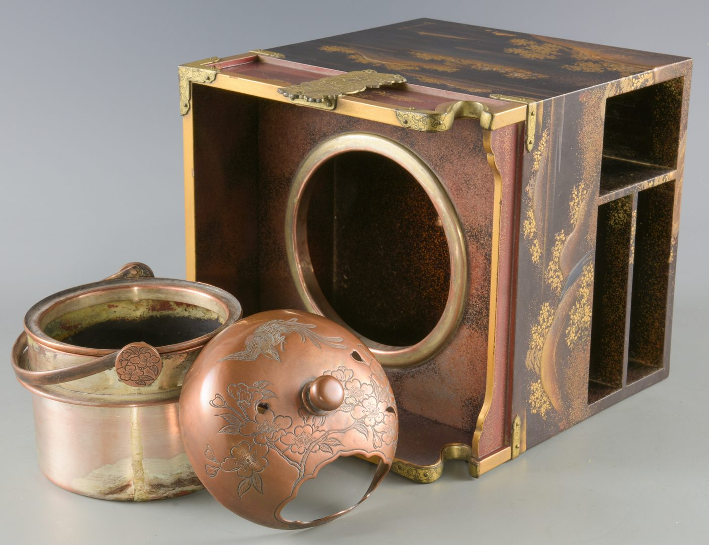 Lot 16: Japanese Gold Lacquer Tobacco Box & Bronze Hand Mirror
