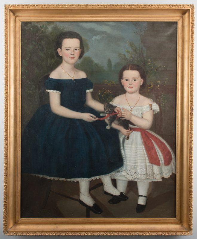 Lot 171: Portrait of 2 Children with Kitten