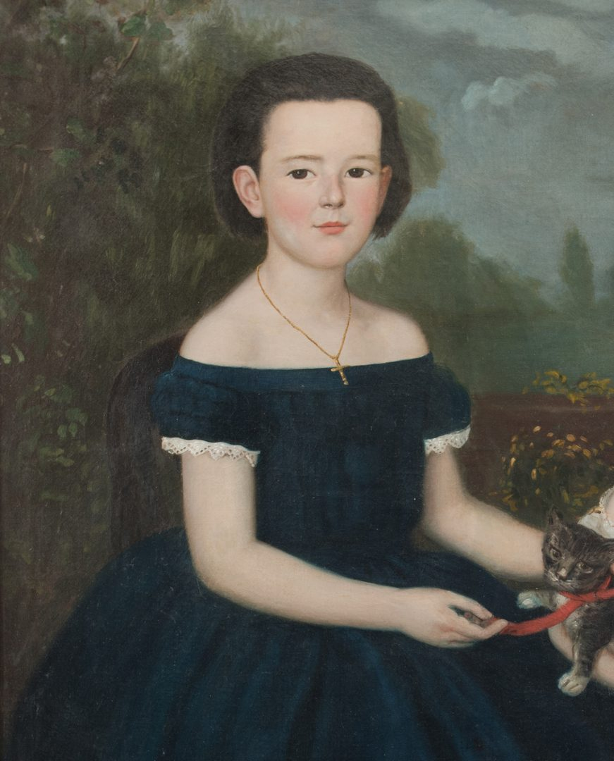Lot 171: Portrait of 2 Children with Kitten
