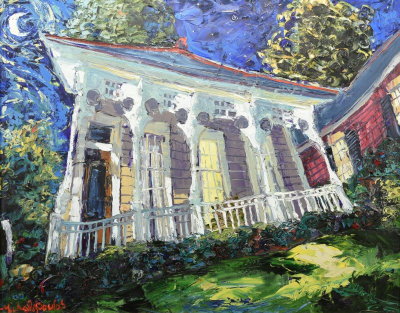 Lot 172: J. Michalopoulos O/C, New Orleans Cottage by Moonlight