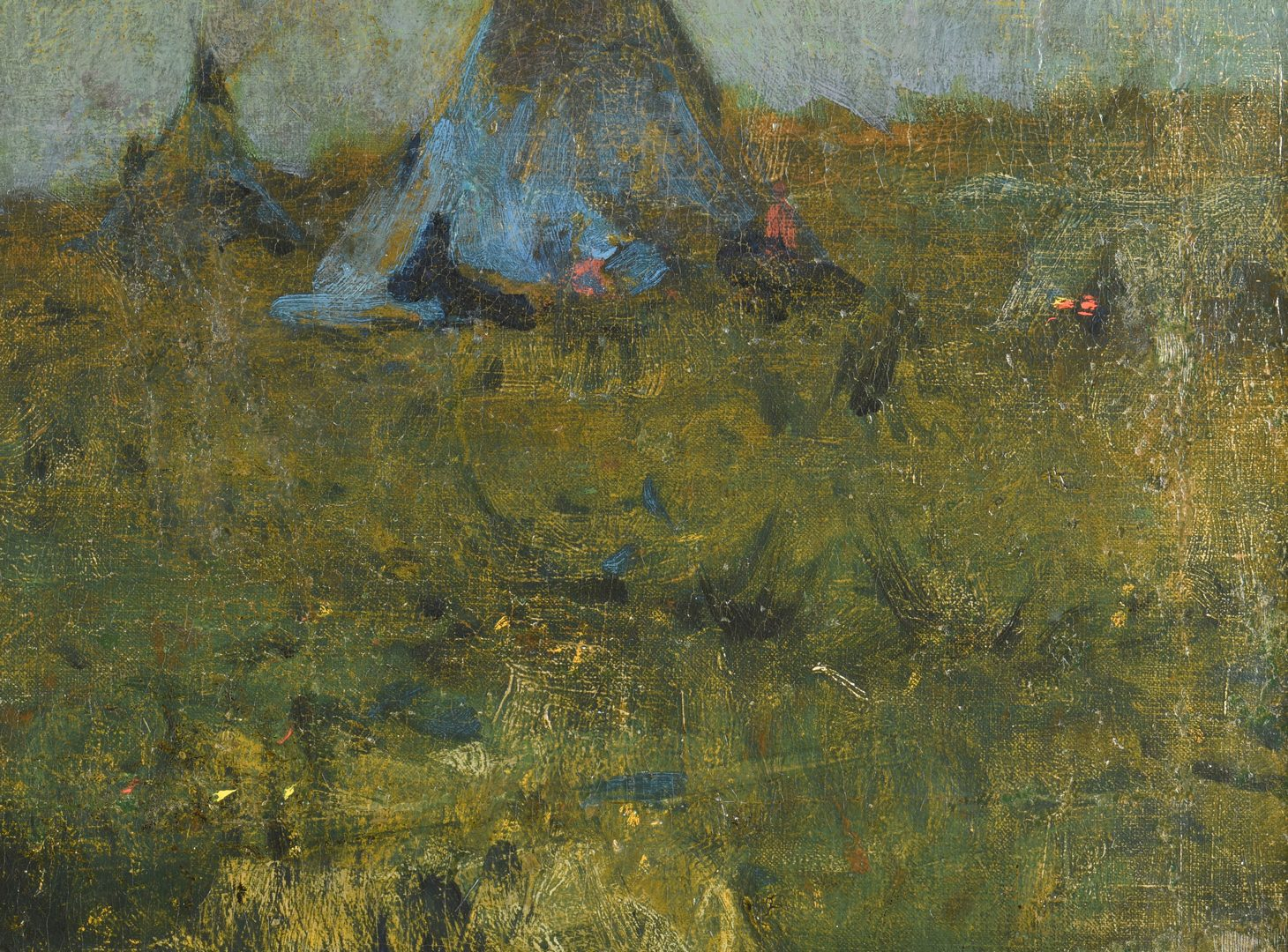 Lot 176: Gilbert Gaul O/C, Indian Encampment