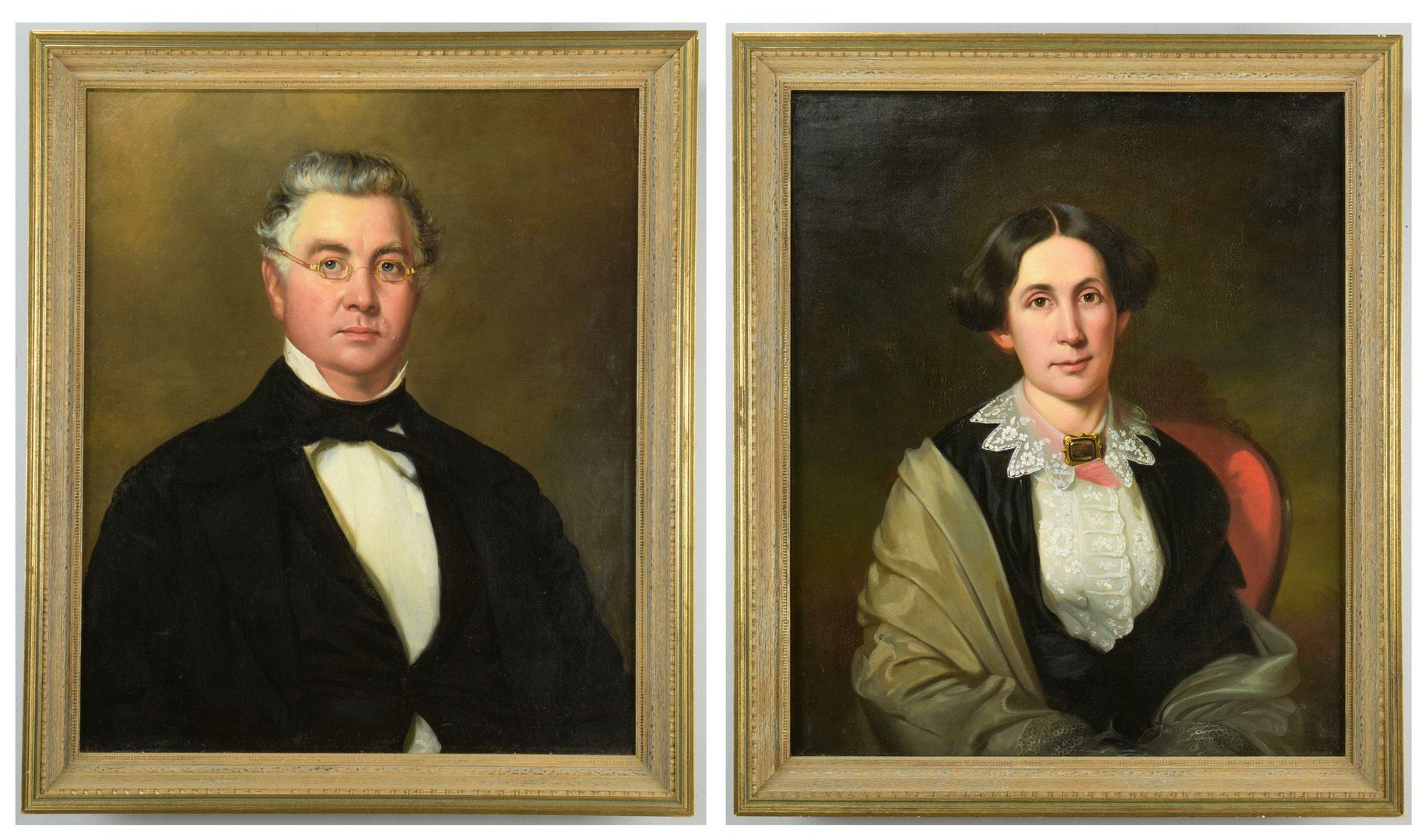 Lot 179: Attr. J. Hart, Portraits of Memphis Couple