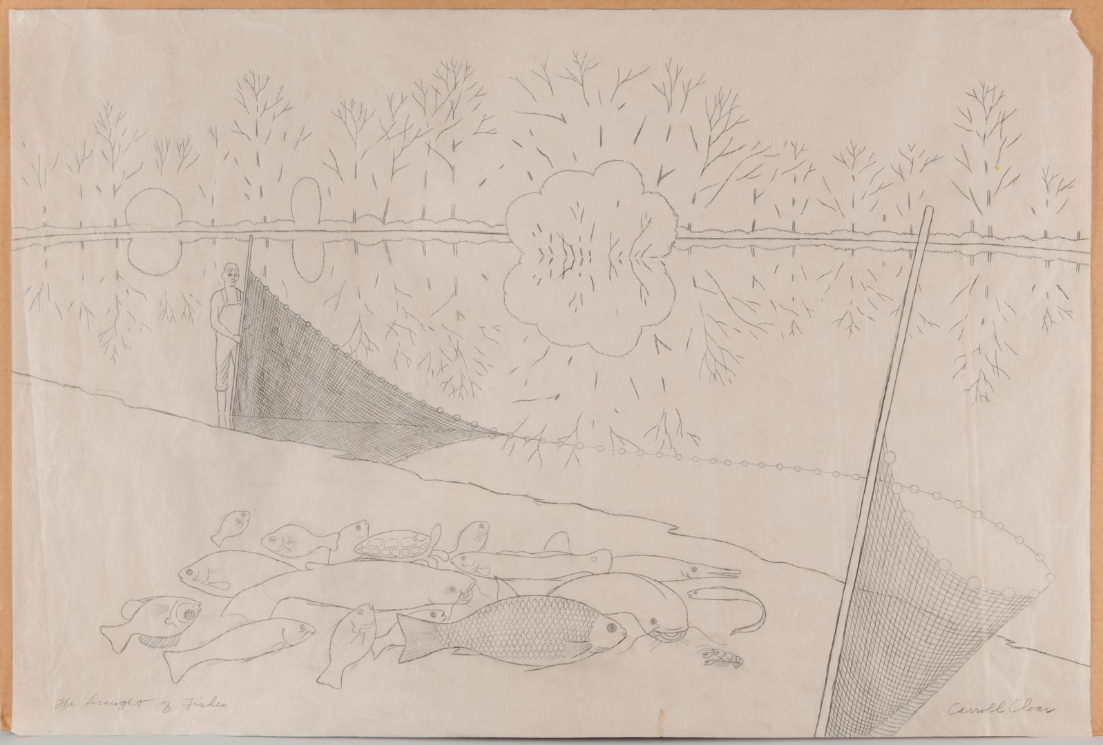 Lot 182: Carroll Cloar drawing, Draught of Fishes