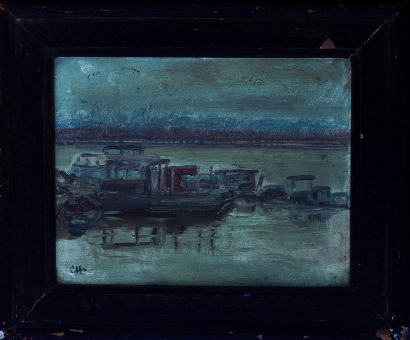 Lot 186: Cornelius Hankins Memphis Barge Painting