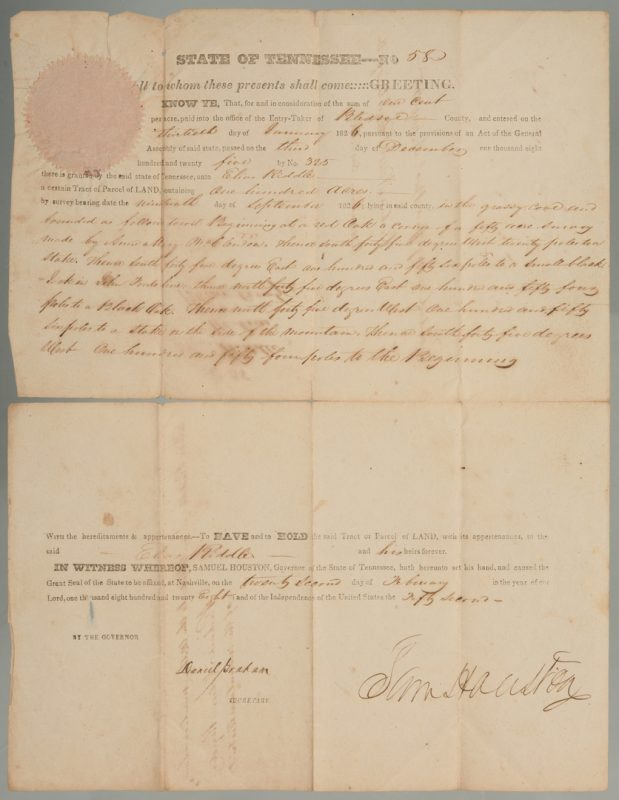 Lot 195: Sam Houston Signed Land Grant, Riddle
