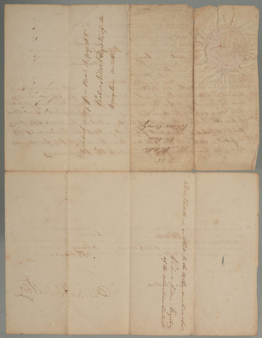 Lot 195: Sam Houston Signed Land Grant, Riddle