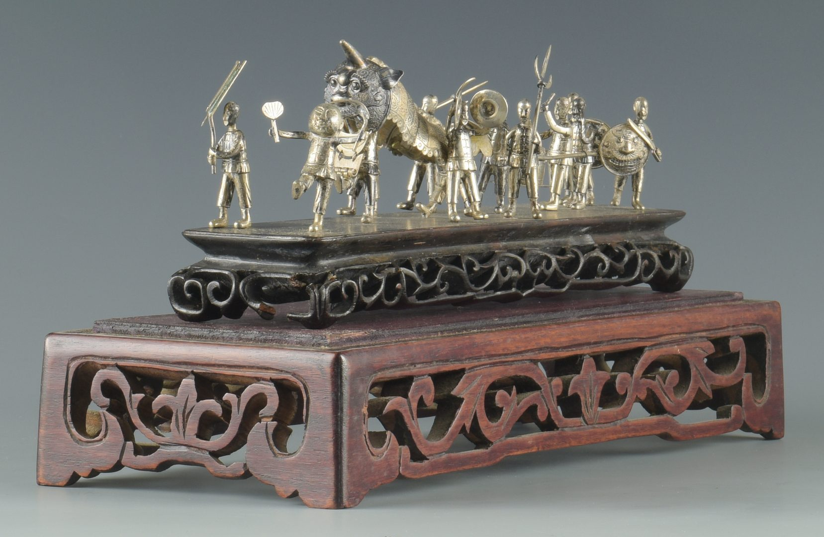 Lot 1: Miniature Chinese Export Silver Procession Scene