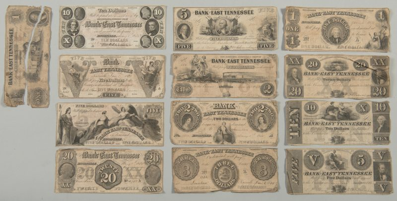 Lot 205: 12 Bank of East TN Pre Civil War Bills