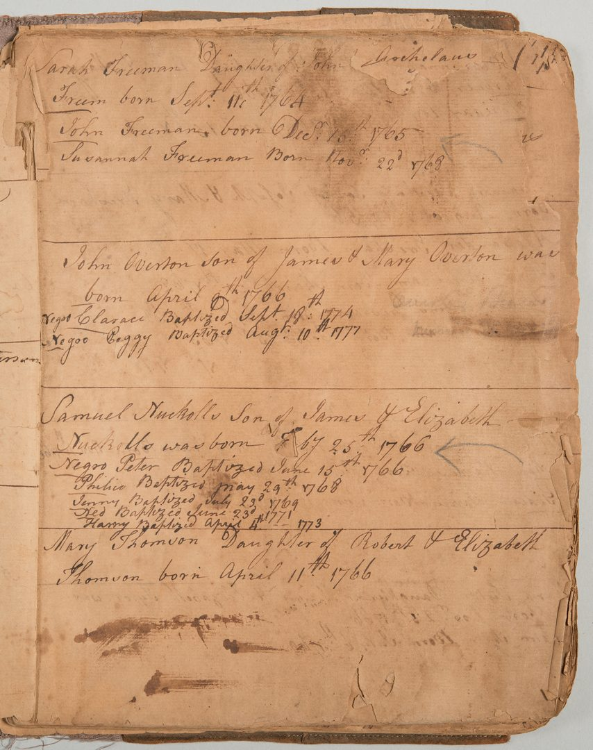 Lot 206: VA Birth/Slave Record inc. John Overton