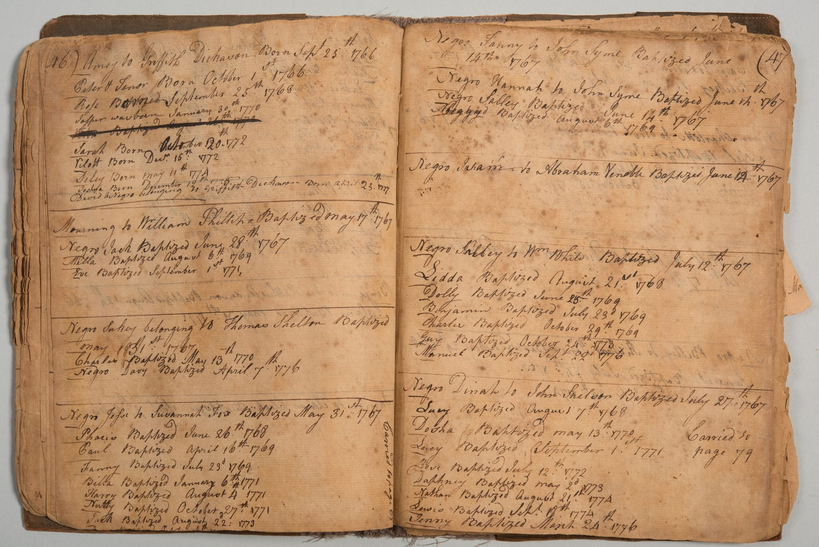 Lot 206: VA Birth/Slave Record inc. John Overton