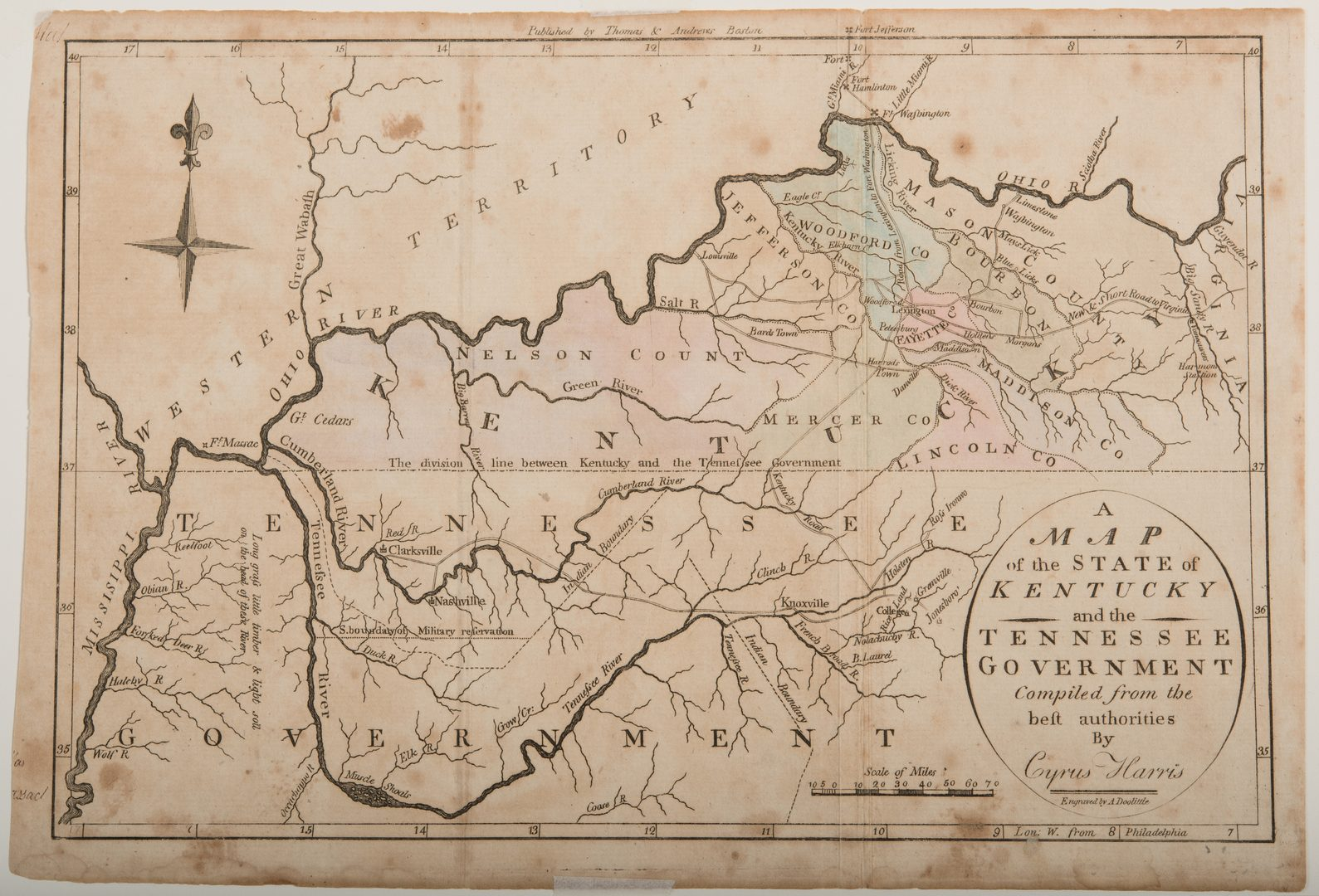 Lot 207: Kentucky and Tennessee Map, 1796 Harris