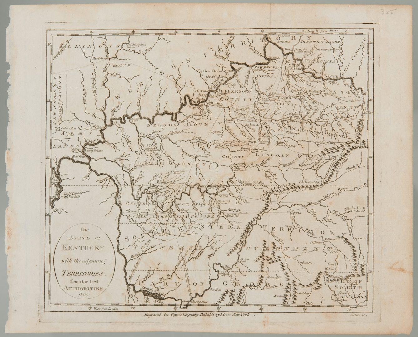 Lot 208: Kentucky Map, 1800 Payne