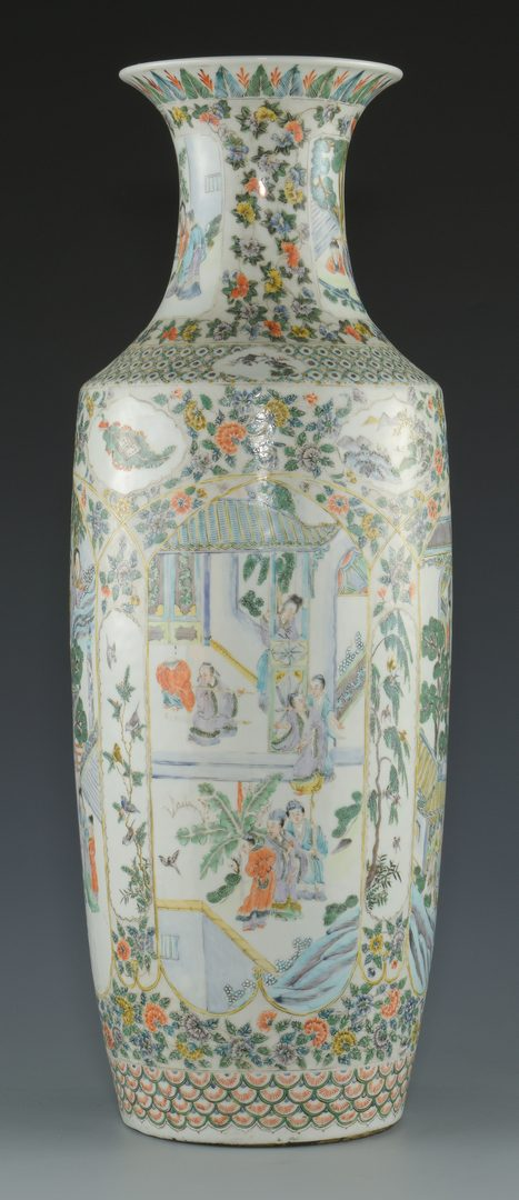 Lot 20: Famille Verte Porcelain Floor Vase