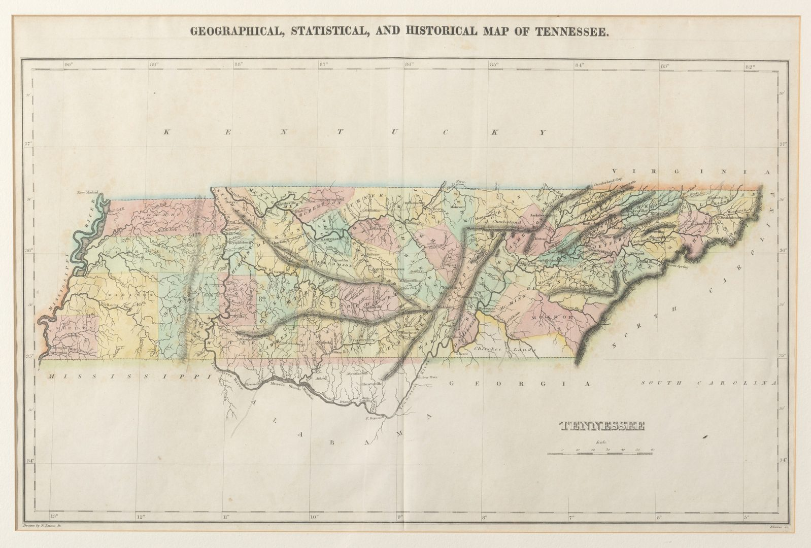 Lot 211: TN Map 1822, Lucas, Carey, & Lea