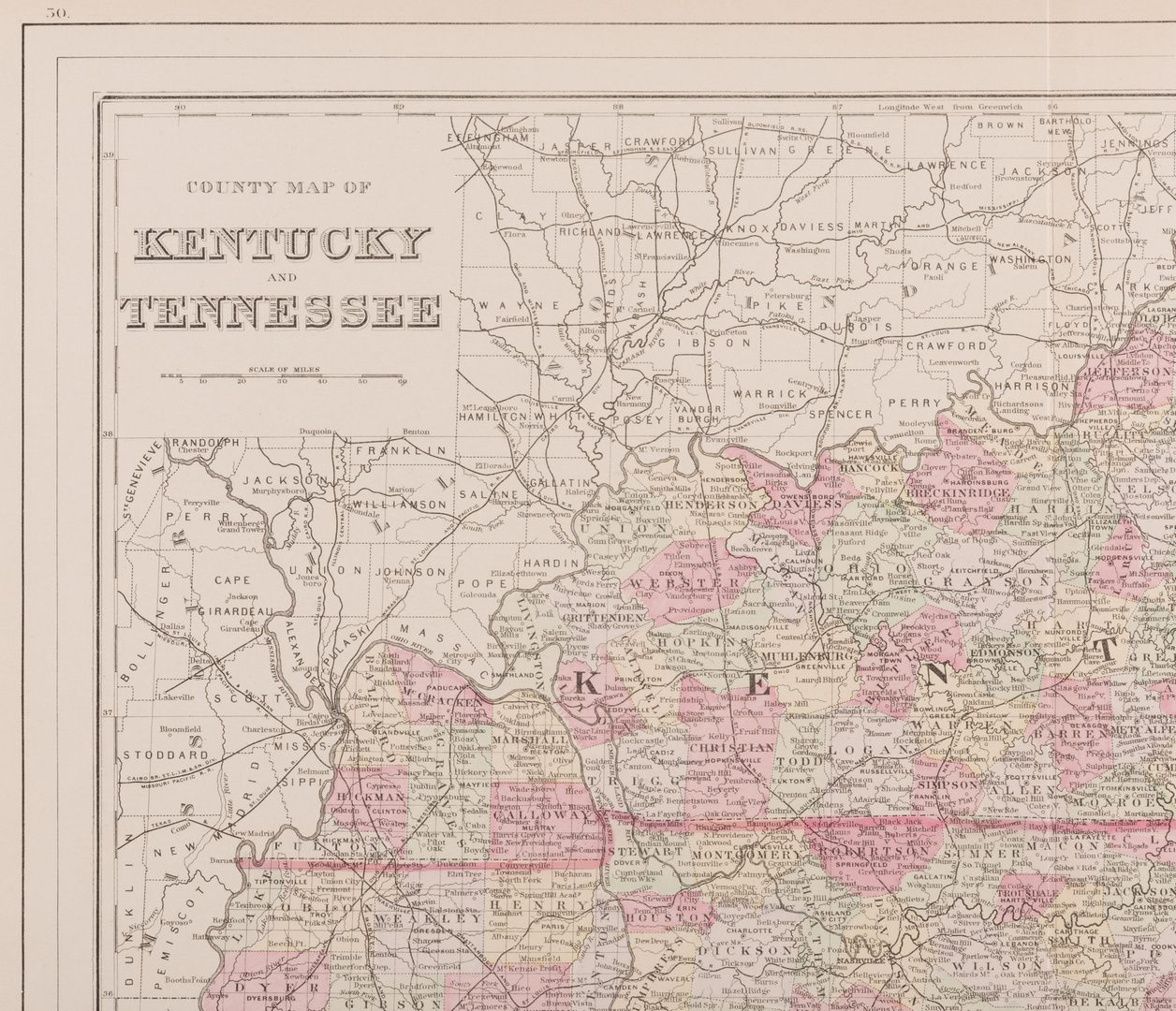 Lot 213: 5 Kentucky and Tennessee Maps