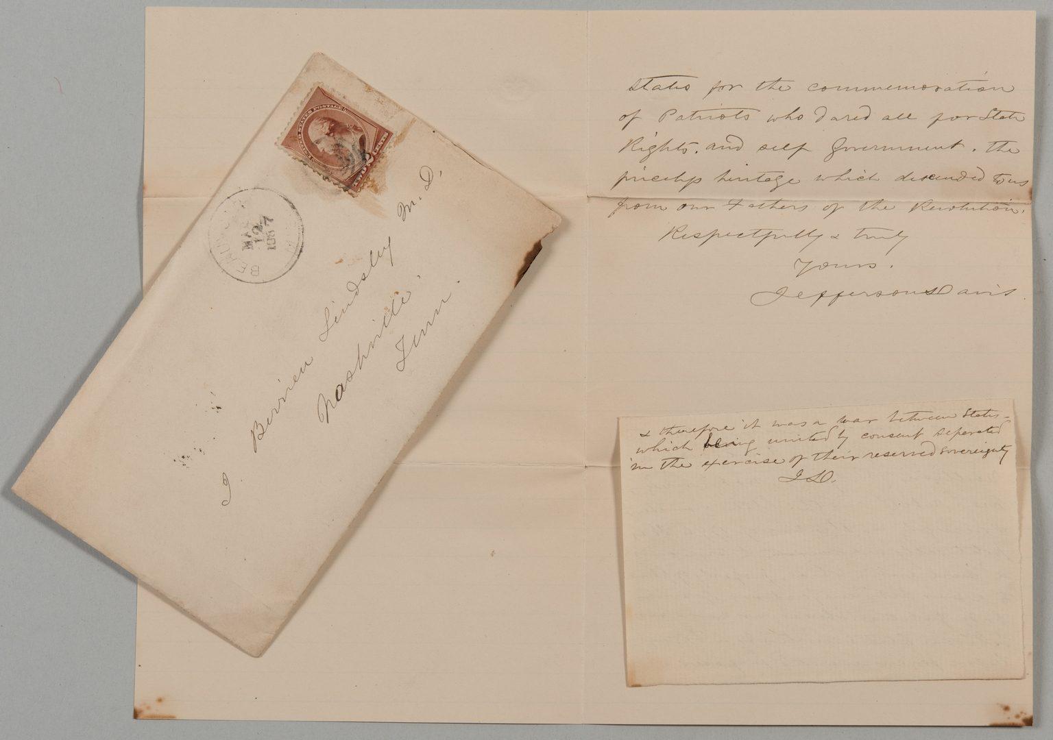 Lot 219: Jefferson Davis letter to J.B. Lindsley, ref. McGavock