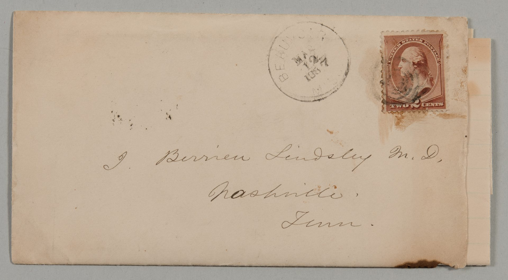 Lot 219: Jefferson Davis letter to J.B. Lindsley, ref. McGavock