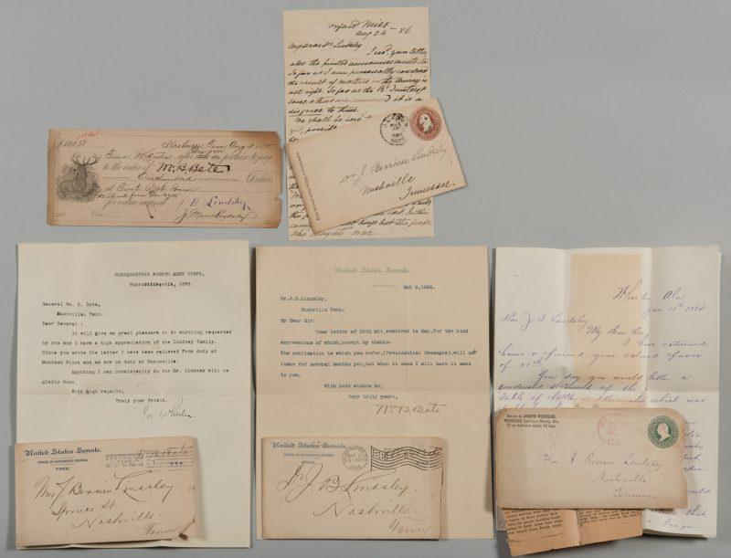 Lot 221: CSA Genls. letters to J. B. Lindsley: Stewart, Wheeler, Bate
