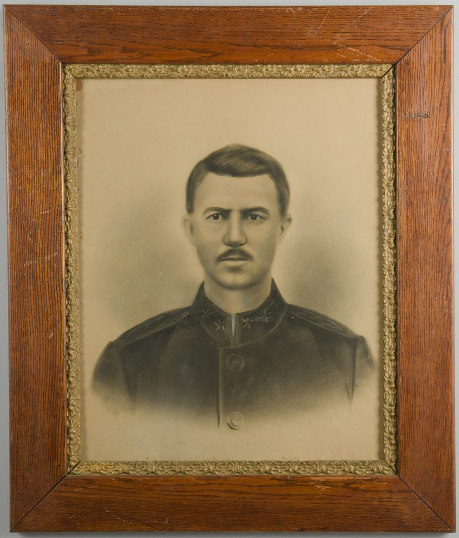 Lot 223: Charcoal Portrait of General Benton Smith, CSA