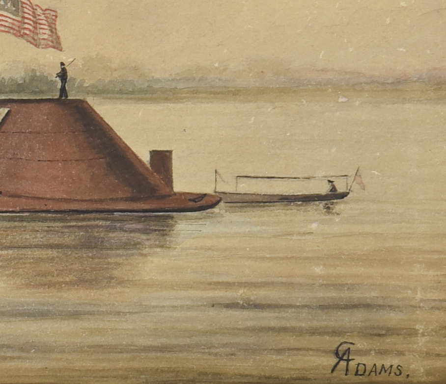Lot 224: Cassily Adams, USS Osage Painting and Signed Document